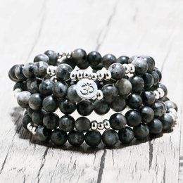 Wholesale Men S Beaded Bracelets - Labradorite woman Wrap Bracelet Trendy Handmade Men`s 108 Mala Yoga Bracelet or Necklace Ohm Charm Bracelet