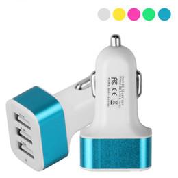 Chargeur de voiture universel en Ligne-Chargeur de voiture 3 ports USB rapide Chargeurs de batterie de voiture Adaptateur de chargeur de cigarette pour smartphone Iphone Samsung