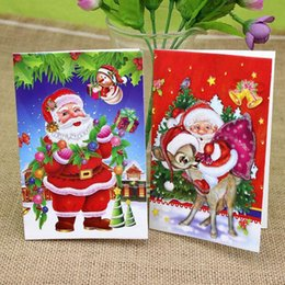Wholesale April 18 - (18 pieces set)Lovely Design Cute Small Paper Gift Cards Colorful MIni Cartoon Santa Claus Greeting Card Merry Christmas Card