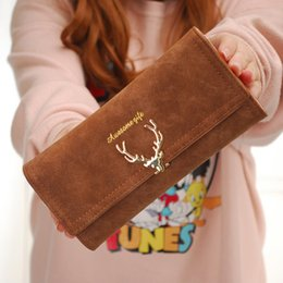 new european dress designs Promo Codes - 2018 New Fashion Wallet Female Women Purse Long Zipper Solid Candy Color Metal Christmas Deer Wallets PU Card Holders Design
