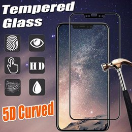 Wholesale 5d Body - 5D Curved Tempered Glass Full Covrage Full Body Screen Protector Hardness HD Scratch Proof Slim Film Guard Cover For iPhone X 8 Plus 7 6 6S