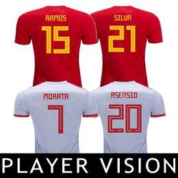 Wholesale Espana Jersey - Player Vision 2018 Soccer Jersey Spain Camisetas de Futbol ASENSIO MORATA ESPANA World Cup RAMOS INIESTA Football Shirts Camisa Maillot