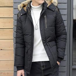parka de invierno de hombres grandes Rebajas El tamaño grande M-5XL invierno chaqueta de los hombres Caliente Negro masculino de la capa abajo de la chaqueta con capucha Parka Hee Gran nieve fría rompevientos