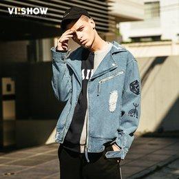 2019 куртка вишоу VIISHOW 2018 новая осень мода джинсовая куртка мужчины повседневная джинсы пальто верхняя одежда хлопок Slim Fit Марка Мужская одежда JC2036173 дешево куртка вишоу