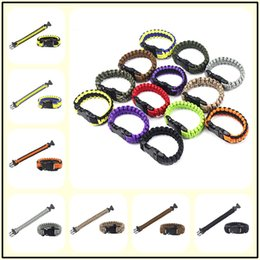 Wholesale military paracord bracelet - 200Colors Survival Cord Rope Paracord Buckle Bracelet Military Bangles Men Sport Outdoor Camping Climbing Aids Tool