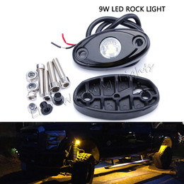 Wholesale Waterproof Atv Led Lights - free shipping 2pcs 9W led rock light waterproof offroad atmosphere lamp for wrangler SUV ATV motorcycle trucks signal car decorative light