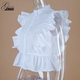 Wholesale Tunic Tops Ruffles - Gold Hands Summer Sleeveless White Tunic Blouses Female Ladies Office Fashion Short Shirts Women Ruffled Button Down Crop Tops
