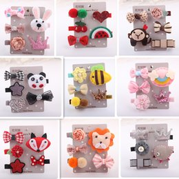 Wholesale Cute Hair Clips For Babies - Baby Girls Barrettes Cute Bow Hairpins Flowers Animals Hair Clip For Kids Hair Accessories 5pcs Sets Factory Free DHL 680