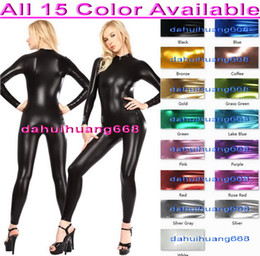 Wholesale Front Zip Catsuit - Unisex Body Suit Sexy Front Zip Costumes New 15 Color Shiny Lycra Metallic Suit Catsuit Costumes Unisex Bodysuit No Head Hand Foot DH069
