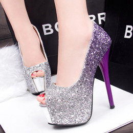 Wholesale 14 Cm Heels - New Fashion Luxury Brand High Heels 14 CM Women Wedding Shoes Shiny Sequins Fish Mouth Evening Party Wear Platform Peep-toes Shoes