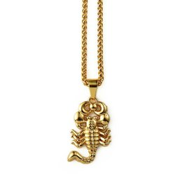 Wholesale gold scorpion pendant - 2018 New Product Gold Small Scorpion Pendant Necklace Hip Hop Animal Jewelry For Men's Fashion People Men Women Christmas Gift