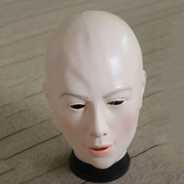 Wholesale Female Funny Costumes - Realistic Female Mask For Halloween Human Female Masquerade Latex Party Mask Sexy Girl Crossdress Costume Cosplay Mask