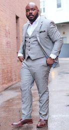 Wholesale Plus Size Tweed Coat - Tailor Made Gray Men Suits Plus Size Loose Groom Prom Blazer Marriage Suits Male Coat 3 Piece Tuxedo Jacket+Pants+Vest Masculino