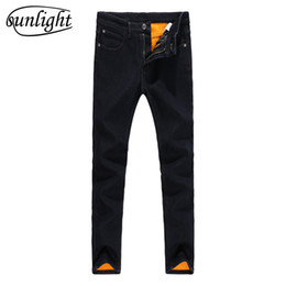 Wholesale Mens Fleece Jeans - sunlight Winter Mens Stretch Jeans Warm Fleece Flannel Lined Quality Denim Jean Pants Size 28-34-38 Brand Black Jeans for Mens
