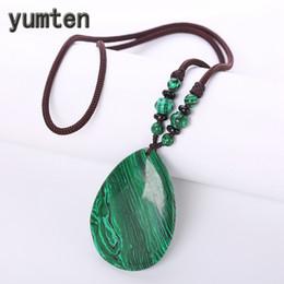 Ожерелье из талисмана онлайн-Yumten Malachite Necklaces Green Pendant Stone Chain Vintage Women Jewelry Geometric Natural Beadwork Rope Chain Talisman Teapot