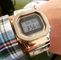 uhren luxus-stil Rabatt Edelstahlarmband Luxusmarke Armbanduhren G Style Wasserdichte stoßfeste Uhren LED-Anzeige Quadratische beiläufige Uhr der Geschäftsmänner
