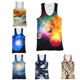 68de6ff716 Canottiera 3D uomo Galaxy Vest Couples Tanks Top unisex Look 3d stampa  Flower Tee senza maniche camicia 10 colori S-5XL