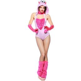 2019 vestuário de pelúcia adulto Umorden Puff Monstro Peludo Traje Rosa Halter Romper Mulheres Adulto Halloween Animal Cosplay Trajes vestuário de pelúcia adulto barato
