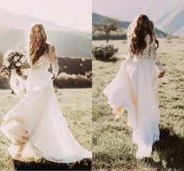 Wholesale Bateau Neck Top - Hot Sale With Sheer Long Sleeves Country Wedding Dresses A Line Bateau Neck Lace Top Chiffon Boho Bridal Gowns Cheap
