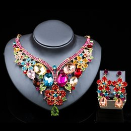 Wholesale Palace Glass - LAN PALACE wedding jewelry sets Glass Rhinestone for bridal gold color necklace and earrings six colors