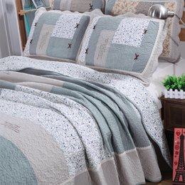 Wholesale Pure Linen Bedding - MILAIYA pastoral country quilted 3pcs bedding sets patchwork linens pure cotton bedspread queen size coverlet thin Comforter