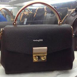 Echtes ledergeschäft online-Freies Verschiffen 25cm Frauen Marke echtes Leder Handtasche Croisette N41581 n53000 abnehmbare Quaste Umhängetasche Umhängetaschen Einkaufstaschen