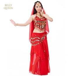 2019 costumi indiani femminili Danza del ventre Costume da ballo di Bollywood Abbigliamento orientale Abbigliamento da ballo femminile Indiano Abbigliamento sexy Bollydancer 5 pezzi / set costumi indiani femminili economici