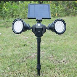 36LEDS solar powered spotlight PIR motion sensor by adjustable double heads solar pathway wall led lamp
