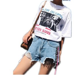 Wholesale Korean High Waist Jeans - 2018Summer Korean Fashion Denim Shorts Women Casual Blue Tassel Ripped Women Loose High Waist Short Jeans Femme StreetwearCQ1715