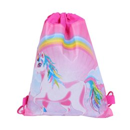 Wholesale child bags - Cartoon Printing Drawstring Bags Party Favor for Kids with Unicorn Elena Design Backpack Shoulder Bags for Children Birthday Pouch