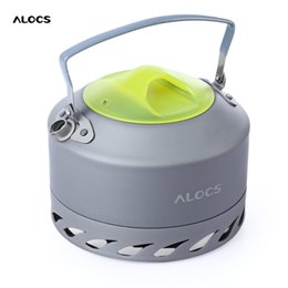 Wholesale Compact Aluminum - ALOCS 0.9L Aluminum Alloy Water Kettle Compact High Quality Portable Camping Picnic Coffee Water Kettle With Mesh Pouch