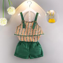 Wholesale Girls Suspenders Shorts - Children print outfits girls Sling top+shorts 2pcs set 2018 summer Baby Suspender suit Boutique kids Clothing Sets 2 colors C3877