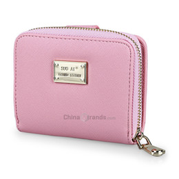 Wholesale Cards Two Folds - Guapabien Cross Pattern Letter Embellishment Two Fold Short Wallet for Lady Pink