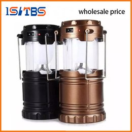 Wholesale Ip68 Battery Led - Portable Outdoor LED Camping Lantern Solar Collapsible Light Outdoor Camping Hiking Super Bright Light Solar Lamps Battery model