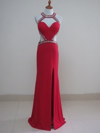 empire beaded halter prom dress Promo Codes - Beaded Sexy Long Split Evening Dresses 2019 Hollow Out Floor Length Sheath Prom Dress Red Party Dress