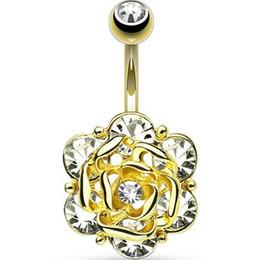bague de diamant en acier chirurgical Promotion 316L acier chirurgical strass bijou nombril anneaux Rose diamant anneau de nombril ponction bijoux nombril