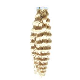 extensões de cabelo humano adesivo Desconto Cabelo Virgem malaio Fita Curly Profunda Em Extensões Do Cabelo Humano 40 pcs Fita Em Nenhum Extensão Do Adesivo Remy Do Cabelo Humano