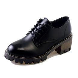 2019 mulheres de salto alto 2018 Grosso Sapatos de Salto Alto Bombas Mulher Tira No Tornozelo Rodada Toe Lacing Plataforma Feminina Oxford Sapatos Casuais Escritório zapatos mujer mulheres de salto alto barato