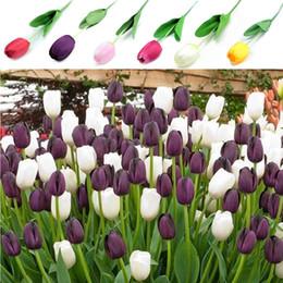 tulipes artificielles simples Promotion Direction générale de la fleur 12pcs / Pack 64cm Artificielle Fleurs De Tulipe Simple Longue Tige Belle Simulation Fleur De Mariage Décoration