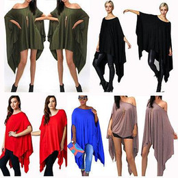 Wholesale Black Floral Tunic - 2018 Womens Sexy Loose Poncho Top Tunic Asymmetric Blouse Shirt Club Party Mini dress WHolesale