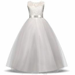 Teen brautjungfern kleider online-High-End-Mädchen Hochzeit Blumenmädchen Kleid Brautjungfer Kleidung Prinzessin Kleider Teen Girl White Tulle Abendkleider 5 14 Y Y1891203