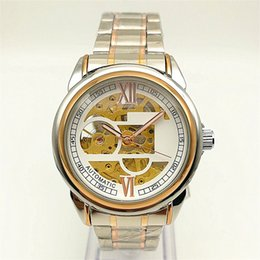 Wholesale Wholesale Gold Watches China - Automatic Mechanical Watch Men's Waterproof Stainless Steel Hollow Wrist Watch Golden Fashion Sports Business Mechanical Watches China