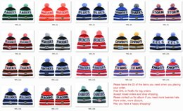 Wholesale Beanie Team Hats - Wholesale NRL Rugby Teams STORM North Queensland Broncos Winter Cronulla Sharks Beanie Hats Knitted Roosters Pom Beanies Winter Warm Caps