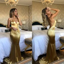 Wholesale sexy backless dresses for sale - Gold Mermaid Prom Dresses Long Deep V Neck Spaghetti Straps Open Back Formal Evening Dresses 2018 Cheap for Sale