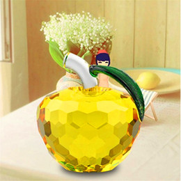 Wholesale Paperweights Gifts - Yellow Crystal Apple Paperweight Pretty Craft Art & Collection Gifts Christmas Home Decoration Wedding Table   car Ornaments 5CM