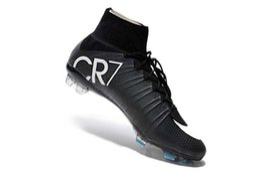 botas negras cr7 Rebajas Botas de fútbol CR7 negras Zapatillas de fútbol Mercurial Superfly V FG 100% originales C Ronaldo 7 Tacos de fútbol para hombre
