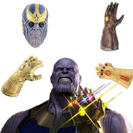 mask action Coupons - Avengers 3 Infinity War Thanos Weapon Infinity Gloves action figures Gem Silicone Headgear Mask Halloween Carnival Cosplay Dress up Props