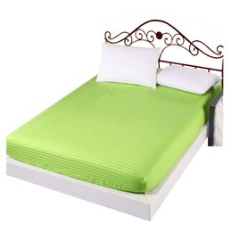 Wholesale cotton satin bedding - Cotton Mattress Cover Satin Hotel Solid Color Fitted Sheet Bed Covergreen200*220*26cm