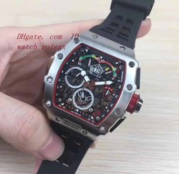 Wholesale Miyota Watches - Mens RM50-03 McLaren F1 Forged Skeleton Dial Rubber Miyota Automatic Mechanical Mens 43mm Watch Sport Silver stainless dial Wristwatches