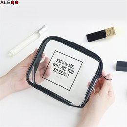 Wholesale Transparent Square Container - Minimalist Cosmetic Storage Bag Chic Nordic Transparent Zipper Makeup Bag Organizer Toiletry Travel Wash Storage Container